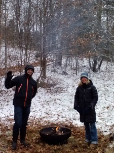 Education Director, Doug Cook and Board Member, Pat Hambrick at the 2012 Tree Cutting Event and CSA Distribution.  Possibly the best spot: near the fire and cider!